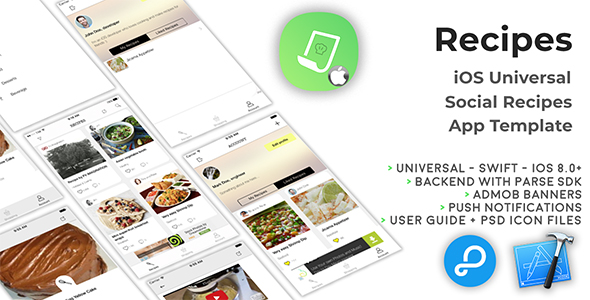 Recipes | iOS Universal Social Recipes App Template (Swift)