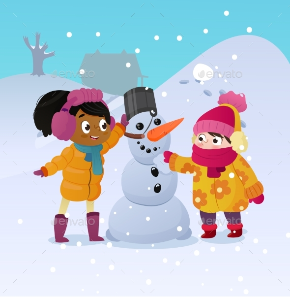 Happy Kids Playing with Snowman