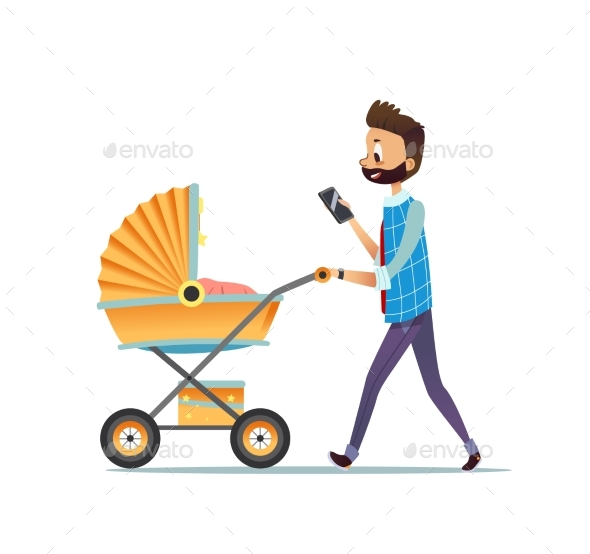 Father Walking with Child Lying in Pram