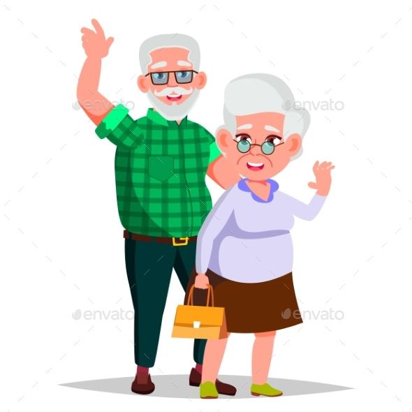 Elderly Couple Vector. Grandpa With Grandmother