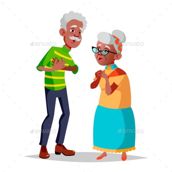 Elderly Couple Vector. Modern Grandparents. Old