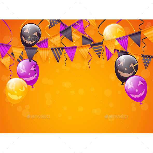 Orange Halloween Background with Decoration and Balloons