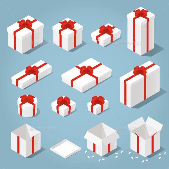 Isometric Gift Boxes Set