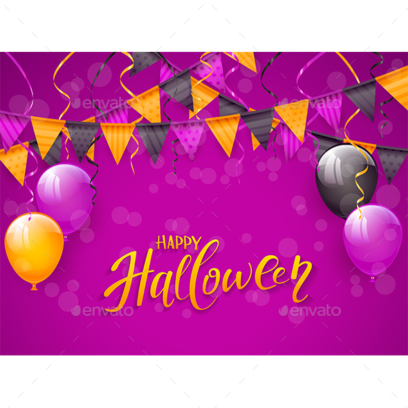 Happy Halloween with Balloons and Pennants on Purple Background