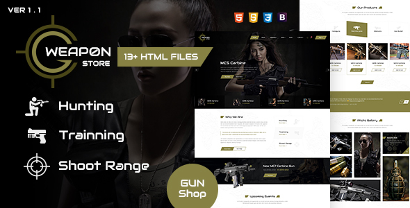 Weapon Store - Gun Shop HTML Template
