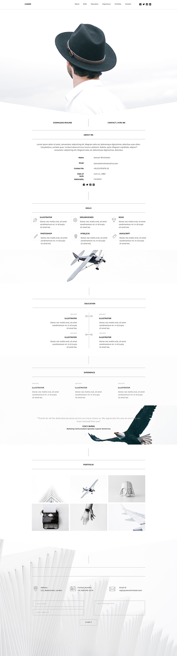 Canoe - CV Resume Personal Muse Template
