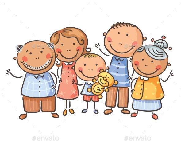 Family of Five Cartoon Graphics