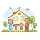 Family with Two Children Near Their House - GraphicRiver Item for Sale