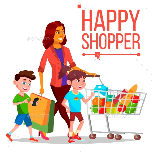 Shopping Woman Vector. With Children. Purchasing