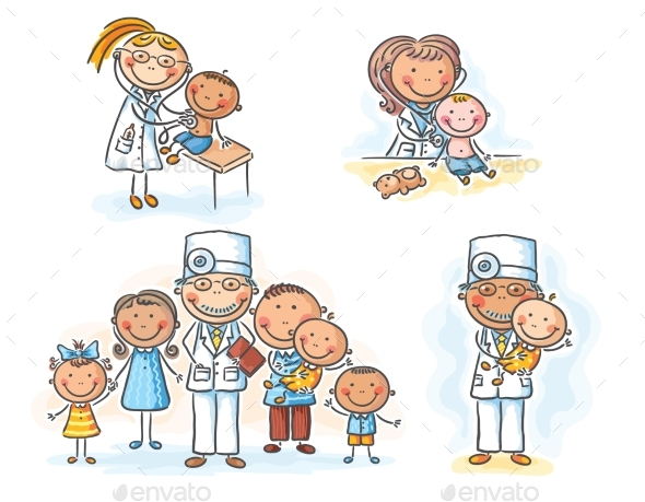 Family Doctor with His Patients, Cartoon Graphics