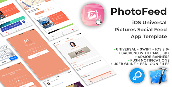 Photofeed | iOS Universal Social Photo feeds App Template (Swift) Download