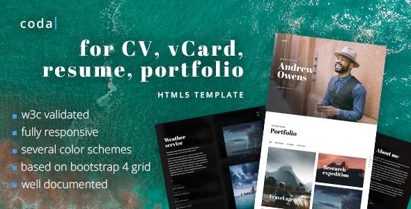 coda - CV, vCard, Resume, Portfolio HTML Template