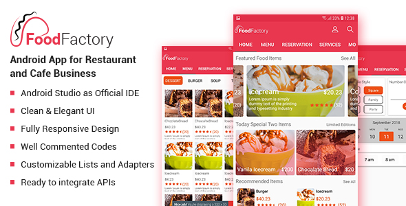 Food Factory - Android App For Restaurant and Cafe Business Template