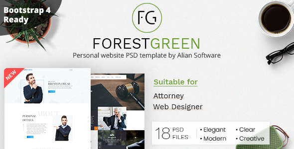 Forestgreen - Personal Website PSD Template
