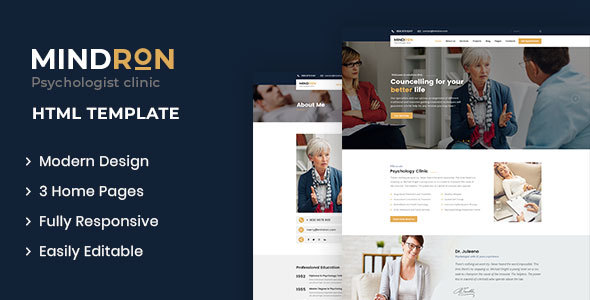 Mindron - Psychology & Counseling HTML Template