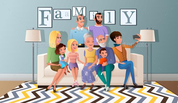 Selfie Photo with Big Family Cartoon Vector