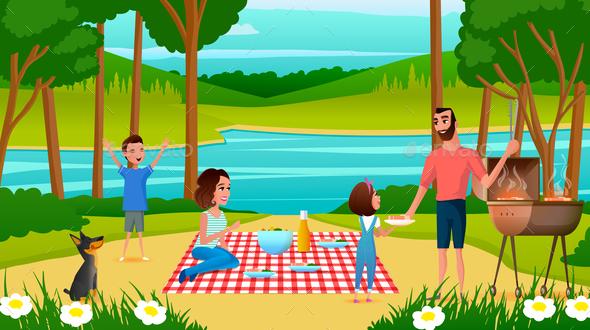 Family Having Fun on Picnic Cartoon Vector