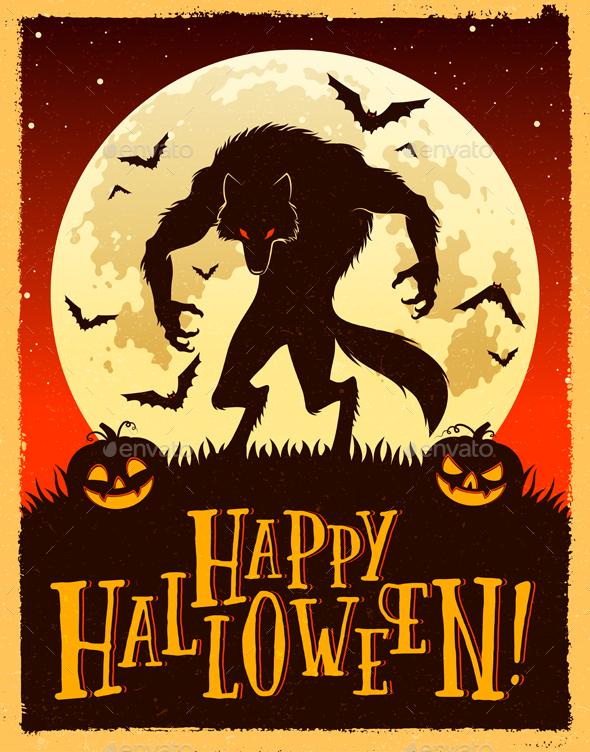 Halloween Werewolf Vector Illustration