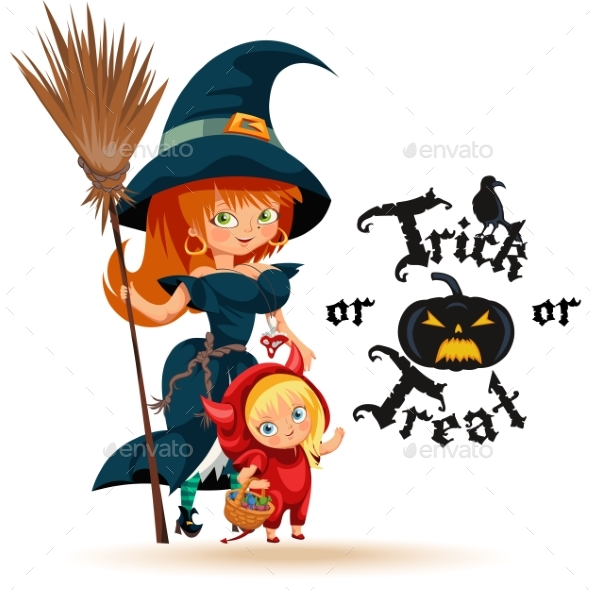 All Hallows Eve Family Party Flat Poster Vector