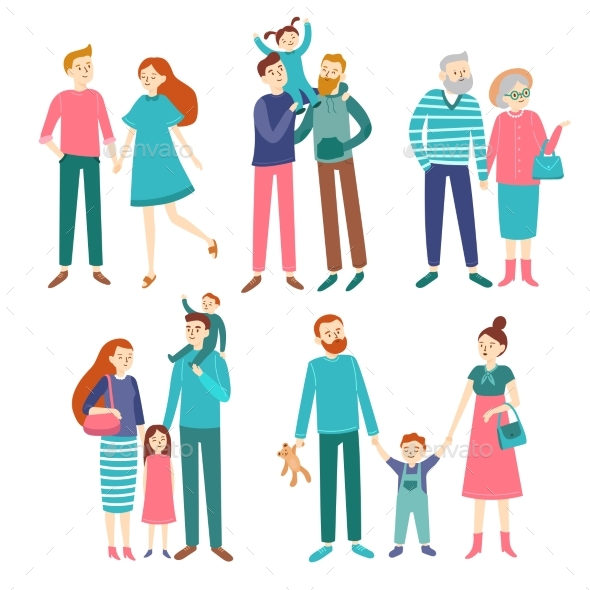 Family Couples. Father and Mother with Children