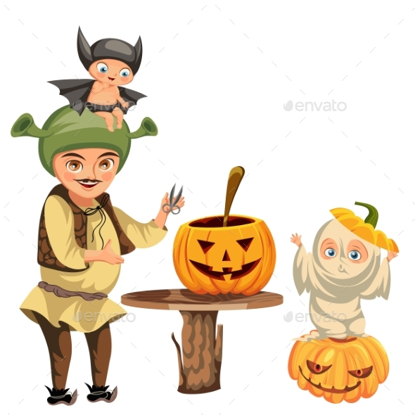 Father with Kids Carving Hallows Pumpkin Poster