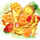 Mix Tropical Fruits and Palm Leaves into of Splashes Juices - GraphicRiver Item for Sale