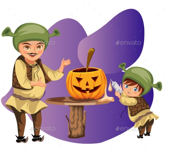 Dad with Son Making Halloween Pumpkin Poster
