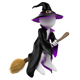 3D White People. Witch on her Broomstick. Halloween - GraphicRiver Item for Sale