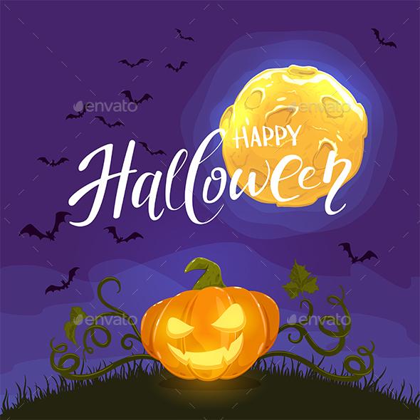Happy Halloween and Pumpkin on Night Background