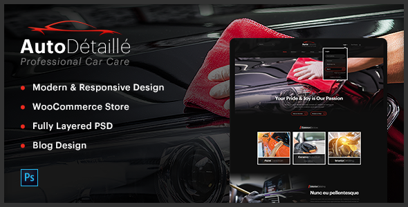 AutoDétaillé - Vehicle Detailing and Cleaning Products Store PSD Template
