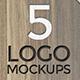 5 Logo Mockups on Wooden Tables - GraphicRiver Item for Sale