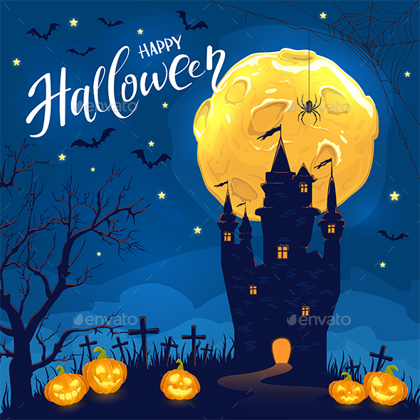 Lettering Happy Halloween with Castle and Smiling Pumpkins