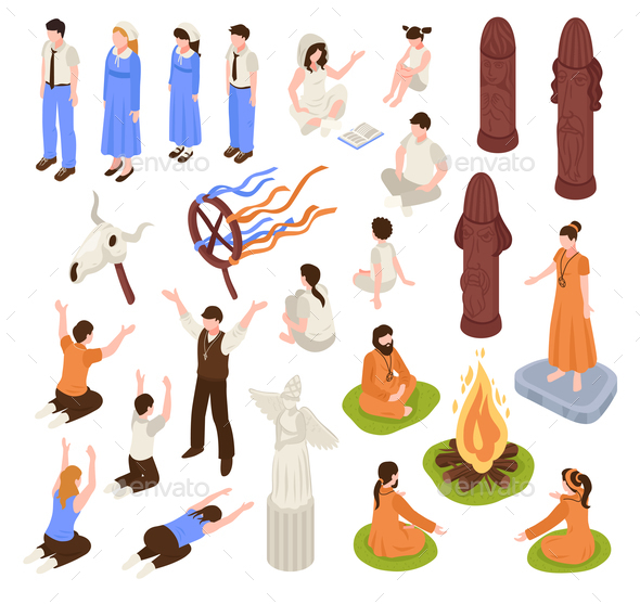 Isometric Religion Icons Collection