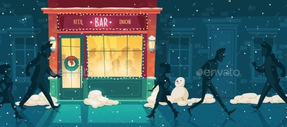 Vector Beer Bar at Winter Christmas Eve