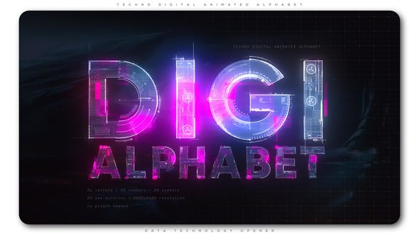 Techno Digital Animated Alphabet