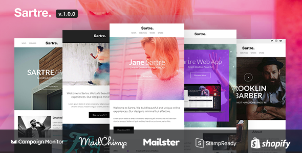 Sartre - Responsive Email Toolkit: 120+ Sections + Online Builder + MailChimp + Mailster + Shopify