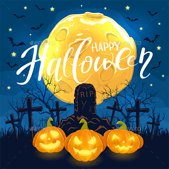 Halloween Background with Pumpkins and Cross