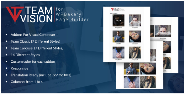 Teamvision - Team Addons for WPBakery Page Builder for WordPress (formerly Visual Composer)