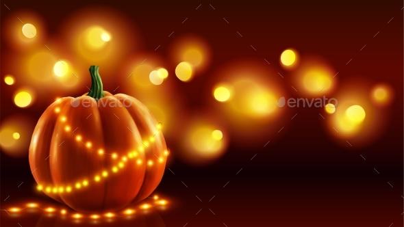 Realistic Pumpkin Vector Illustration with Orange