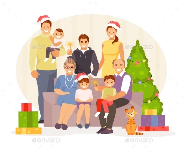 Family Christmas Vector