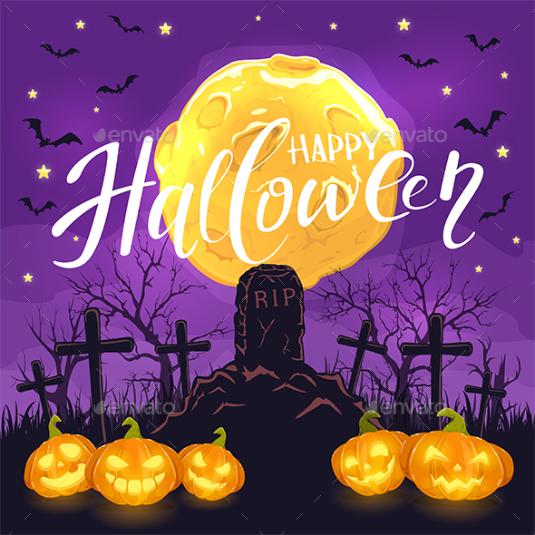 Halloween Background with Pumpkins on Cemetery and Moon