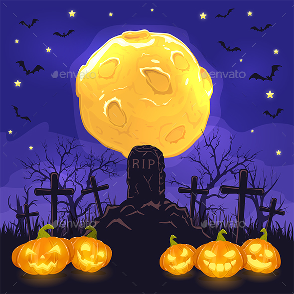 Halloween Night Background with Pumpkins on Cemetery and Moon