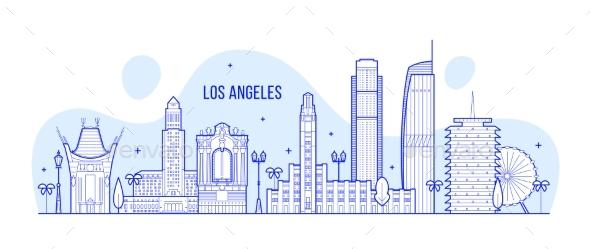 Los Angeles Skyline USA City Buildings Vector