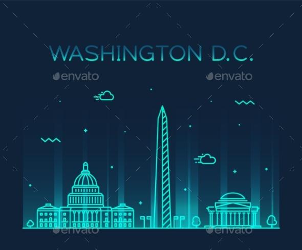 Washington DC USA Vector Linear Art Style City