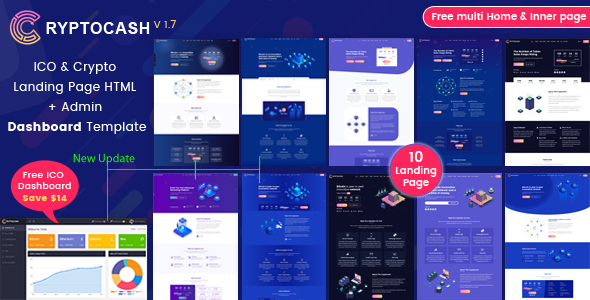 Cryptocash – ICO Cryptocurrency & ICO Landing Page HTML5 + Dashboard Template