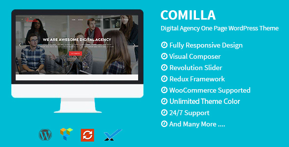 Comilla - Digital Agency One Page WordPress Theme