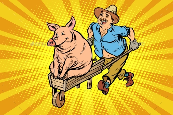 Farmer is Transporting a Pig