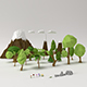 Low poly Trees Flowers Grasses Rocks Clouds and Mountains - 3DOcean Item for Sale