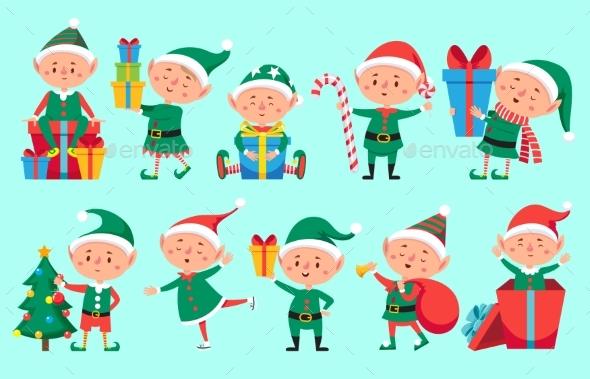 Christmas Elf Character. Cute Santa Claus Helpers