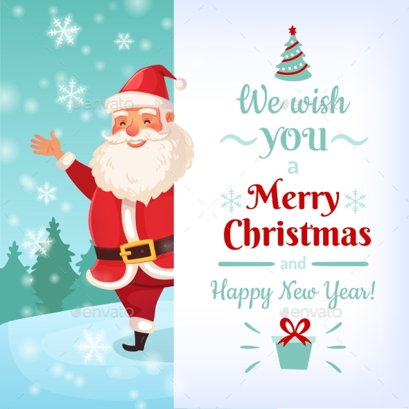 Merry Christmas Card. Santa Claus Greeting Cards